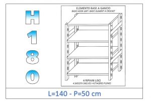 IN-18G46914050B Shelf with 4 smooth shelves hook fixing dim cm 140x50x180h