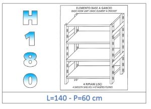 IN-18G46914060B Shelf with 4 smooth shelves hook fixing dim cm 140x60x180h