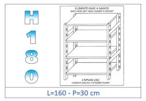 IN-18G46916030B Shelf with 4 smooth shelves hook fixing dim cm 160x30x180h