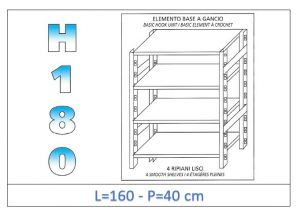 IN-18G46916040B Shelf with 4 smooth shelves hook fixing dim cm 160x40x180h