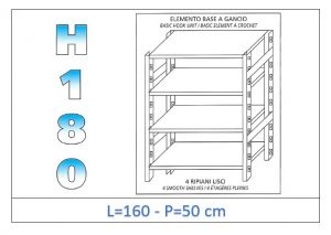 IN-18G46916050B Shelf with 4 smooth shelves hook fixing dim cm 160x50x180h