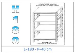 IN-18G46918040B Shelf with 4 smooth shelves hook fixing dim cm 180x40x180h