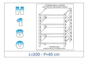 IN-18G46920040B Shelf with 4 smooth shelves hook fixing dim cm 200x40x180h