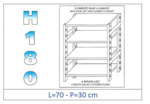 IN-18G4697030B Shelf with 4 smooth shelves hook fixing dim cm 70x30x180h
