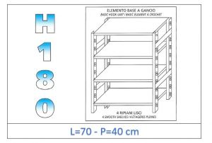 IN-18G4697040B Shelf with 4 smooth shelves hook fixing dim cm 70x40x180h