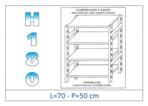 IN-18G4697050B Shelf with 4 smooth shelves hook fixing dim cm 70x50x180h