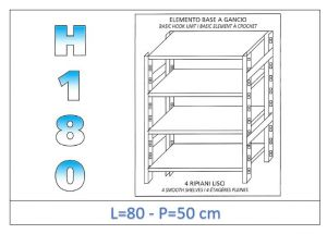 IN-18G4698050B Shelf with 4 smooth shelves hook fixing dim cm 80x50x180h