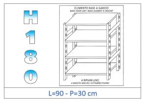 IN-18G4699030B Shelf with 4 smooth shelves hook fixing dim cm 90x30x180h