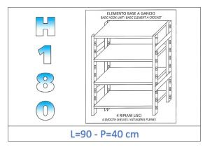 IN-18G4699040B Shelf with 4 smooth shelves hook fixing dim cm 90x40x180h