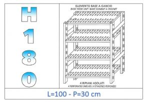 IN-18G47010030B Shelf with 4 slotted shelves hook fixing dim cm 100x30x180h