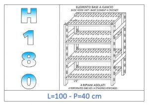IN-18G47010040B Shelf with 4 slotted shelves hook fixing dim cm 100x40x180h