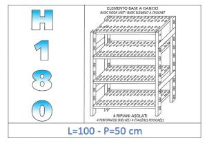 IN-18G47010050B Shelf with 4 slotted shelves hook fixing dim cm 100x50x180h