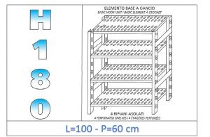 IN-18G47010060B Shelf with 4 slotted shelves hook fixing dim cm 100x60x180h