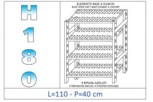 IN-18G47011040B Shelf with 4 slotted shelves hook fixing dim cm 110x40x180h