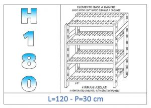 IN-18G47012030B Shelf with 4 slotted shelves hook fixing dim cm 120x30x180h