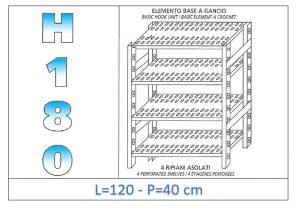 IN-18G47012040B Scaffale a 4 ripiani asolati fissaggio a gancio dim cm 120x40x180h