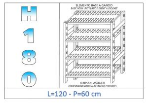 IN-18G47012060B Shelf with 4 slotted shelves hook fixing dim cm 120x60x180h