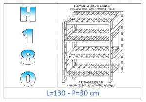 IN-18G47013030B Shelf with 4 slotted shelves hook fixing dim cm 130x30x180h