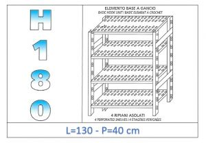 IN-18G47013040B Shelf with 4 slotted shelves hook fixing dim cm 130x40x180h
