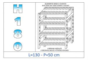 IN-18G47013050B Shelf with 4 slotted shelves hook fixing dim cm 130x50x180h