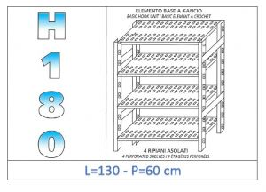IN-18G47013060B Shelf with 4 slotted shelves hook fixing dim cm 130x60x180h