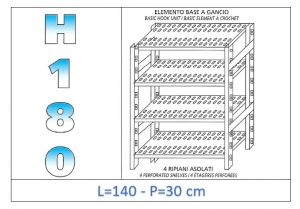 IN-18G47014030B Shelf with 4 slotted shelves hook fixing dim cm 140 x30x180h