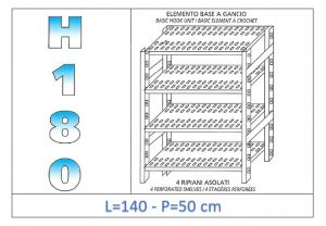IN-18G47014050B Shelf with 4 slotted shelves hook fixing dim cm 140x50x180h