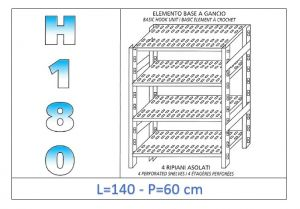IN-18G47014060B Shelf with 4 slotted shelves hook fixing dim cm 140x60x180h