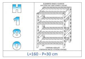 IN-18G47016030B Scaffale a 4 ripiani asolati fissaggio a gancio dim cm 160x30x180h