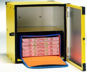 BP50R Box pizza non coibentato, ripiano centrale per 2 borse termiche ø 50