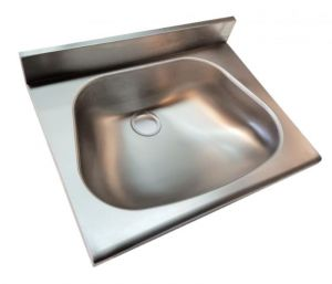 LX1440-5 Washbasin for shelves with stainless steel shoulder 500x350x130 mm -SATINATO-