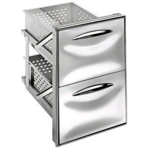 ICCS12 50GS Stainless steel drawer unit 1/2 simple guide Rounded corners Drawer depth 55.6 cm
