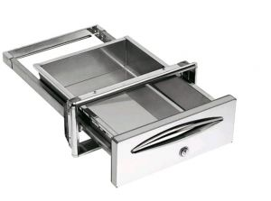 ICCSPC40 Service drawer in stainless steel drawer depth 44.4 cm with stainless steel key