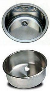 LV030/A évier en acier inoxydable rond diam. 300x180h encastrable