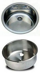 LV026/A round inset stainless steel built-in sink diam. 260x180h with waste
