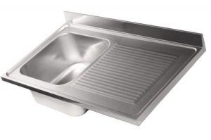 LV6007 Top lavello in acciaio inox AISI 304 dim.1000X600 1 vasca 1 sgocciolatoio DX