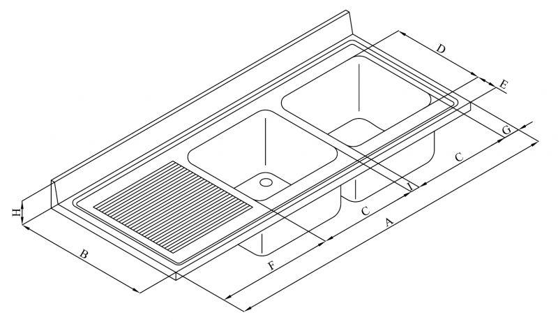 top lavello professionale in acciaio inox aisi 304. 2 vasche. 1 ... - Dimensioni Lavelli Cucina
