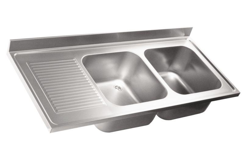 Top lavello professionale in acciaio inox AISI 304. 2 vasche. 1 ...