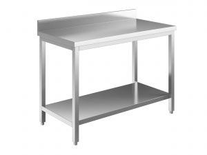 EUG2318-08 tavolo su gambe ECO cm 80x80x85h-piano con alzatina - ripiano inferiore