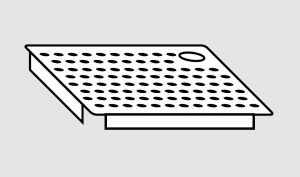 EU91102-06 Falsofondo in acciaio inox forato a sinistra dim. Cm 60x50 per vasche