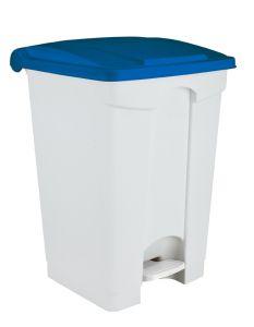 T101455 Pattumiera a pedale in plastica bianca Coperchio Blu 45 litri (confezione da 3 pezzi)