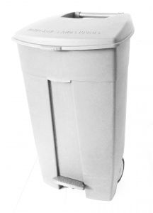 T102034 Mobile plastic pedal bin White 120 liters (Pack of 3 pieces)