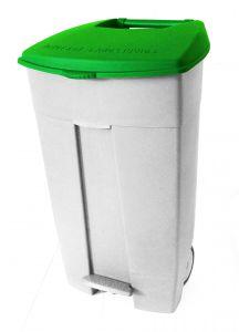 T102038 Contenitore mobile a pedale in plastica bianco-verde 120 litri (confezione da 3 pezzi)