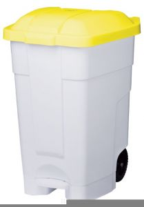 T102046 Mobile plastic pedal bin White Yellow 70 liters (Pack of 3 pieces)