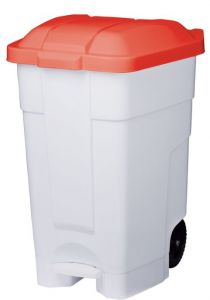 T102047 Mobile plastic pedal bin White Red 70 liters (Pack of 3 pieces)