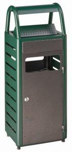 T103011 Corbeille avec cendrier vert/silver extérieur 25+4 litres