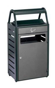 T103016 Papelera con cenicero verde/silver exterior 50+8 litros