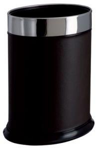 T103051 Corbeille à papier ovale Métal recouvert de faux cuir noire 13 litres