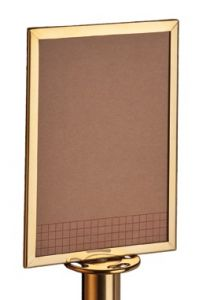 T103383 Panel informativo de acero dorado para postes separadores