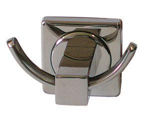 T105103 Double hooks bathrobe hanger AISI 304 Polished stainless steel